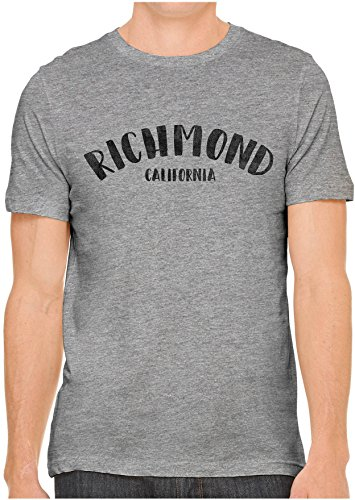 Austin Ink Apparel Unisex Fine Jersey City of Richmond California Print T-Shirt (Heather Grey, S)