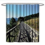 Seaside Decor CollectionPattern Shower curtainWooden Pathway The Sea Bridge Placid Quiet Alone Time