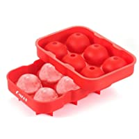 OMIAX Ice Cube Ball Maker tray, 6 x 4.5cm Ice Ball Mold with Leak proof, Flexible Silicone. Food Grade, BPA Free. Ice Sphere round Perfect for Whiskey, Scotch, Bourbon, Cocktails, Fruit Punch, Infused Fruit - Ice6Cube Tray