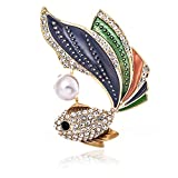 KAMILLE Rhinestone Brooch Pins for Women – Cute Tin Jewelry Brooches for Women, Enamel Pin Pewter Jewelry Perfect Choice for Party, Wedding and Daily Use (Colorful Goldfish)