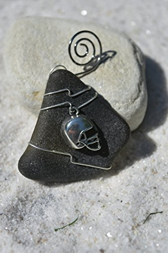 Genuine Surf Tumbled Dark Olive Green Sea Glass Ornament with a Football Helmet ()