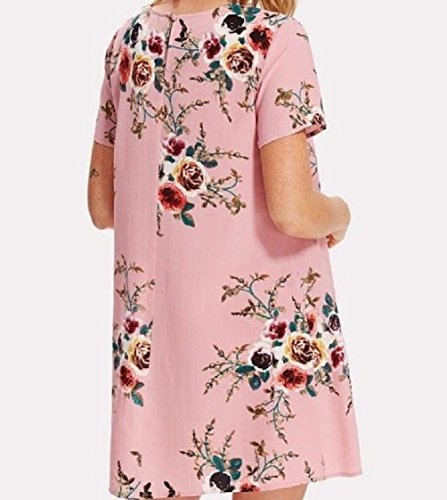 Mid Crewneck Pink Coolred Women Short Printing Relaxed Dress Weekend Sleeves T1TZvn0