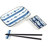Blue Japanese Sushi 9pc Dinner Set for Two