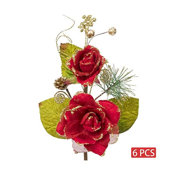 KI Store Christmas Poinsettia Flower Ornaments Red Rose Pack of 6 for Christmas Tree Decorations Artificial Flower Picks Spray for Xmas Tree Wedding Centerpiece