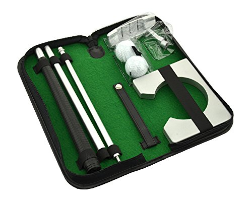 Neon Executive Gift Portable Golf Putter Set Kit with Ball Hole-Cup for Travel Indoor Golf Putting - Executive Putting Cup