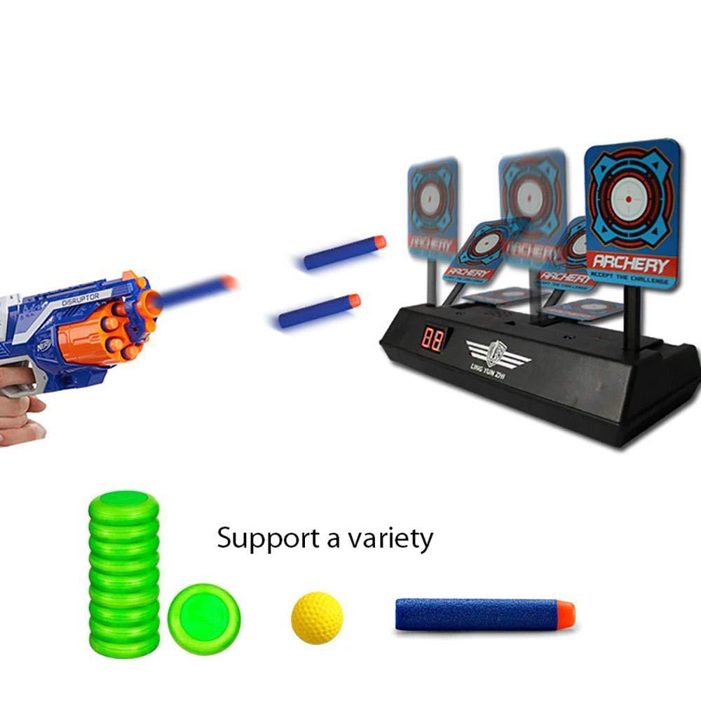 Pawaca Children Toy Airsoft Pistols Electronic Intelligent Light Sound Effect Scoring Target Round Shooting Practice Range Wheel Accessory Target Game