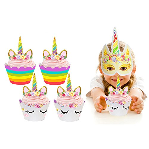 Unicorn Cupcake Toppers and Wrappers Double Sided Kids Party Cake Decorations Set of 24+2 Unicorn Masks