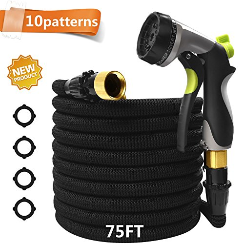 CXRCY Garden Hose with 10 Pattern Spray Nozzle,Upgraded Expandable Flexible Water Hose with Double Latex Core, 3/4″ Solid Brass Fittings, Extra Strength Fabric for Garden Backyard Car Pets wash