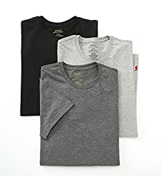 Polo Ralph Lauren Classic Crew Neck T-Shirt 3-Pack, L, Assorted Grey