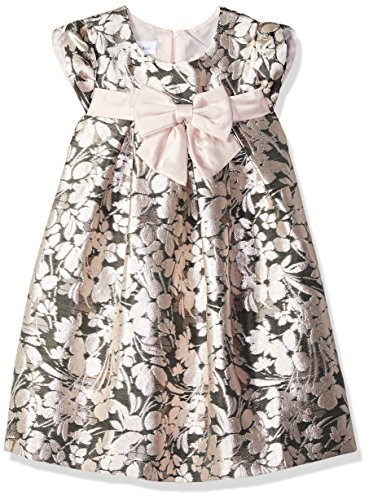 Bonnie Jean Girls' Toddler Brocade Party Dress, Pink/Gray, 3T - Pink Brocade Dress