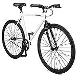 Retrospec Harper Single-Speed Fixed Gear Urban Commuter Bike, White/Black, 57 cm