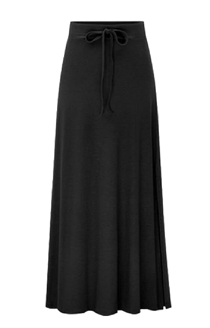 f1c1aa54d2 GAGA Women's Slim Drawstring High Waist Long Slit Maxi Skirts at Amazon  Women's Clothing store: