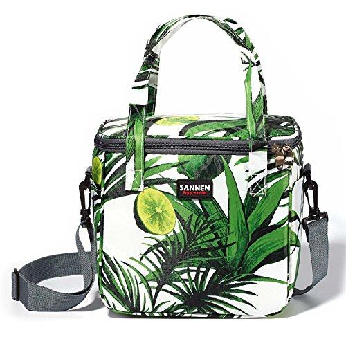 (Insulated Lunch Bag, Sanne Waterproof Lunch Tote Bag for Work Men, Women, Kids, Zipper Closure, Handle Adjustable shoulder Strap (Green) )