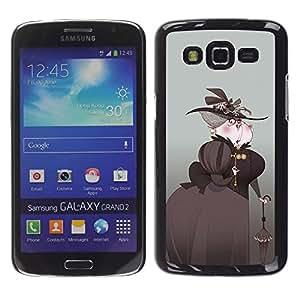 GOODTHINGS Funda Imagen Diseño Carcasa Tapa Trasera Negro Cover Skin Case para Samsung Galaxy Grand 2 SM-G7102 SM-G7105 - mujer aristócrata sombrero negro arte paraguas
