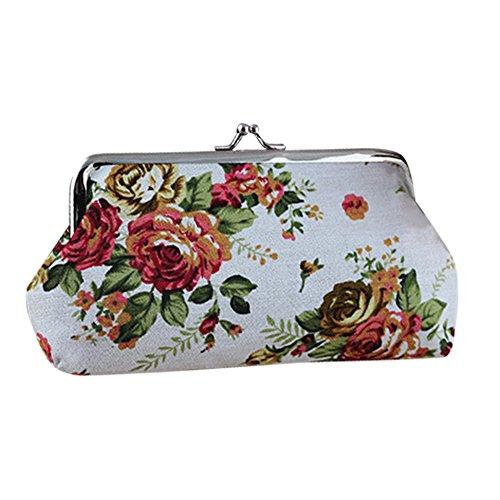 Gilroy Womens Retro Flower Long Wallet Coin Purse Clutch Handbag - White