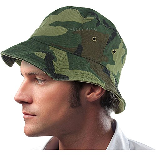 (Mens 100% Cotton Fishing Hunting Summer Bucket Cap Hat (L/XL, Woodland Camo))