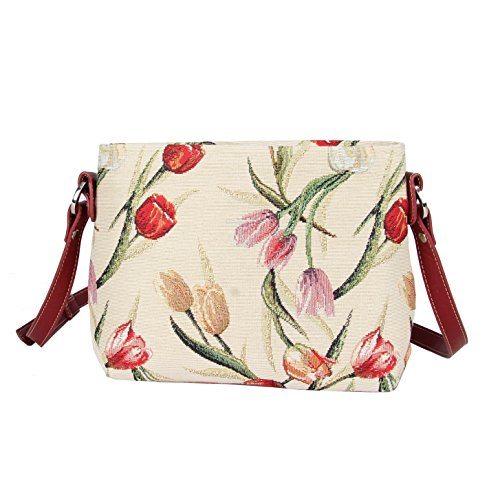 Tulip Purse - Signare Women's Fashion Canvas Tapestry Mini Satchel Across-body Purse Bag with Adjustable Strap also as Small Shoulder Bag with Tulip Flower (XB02- TULWT)