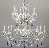 Cheap AUTHENTIC ALL CRYSTAL CHANDELIER CHANDELIERS WITH BLUE CRYSTALS!