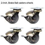JIAN YA NA Ball Casters Wheel[4 Pack] 360 Degree Heavy Duty Rotating Swivel Plates Metal Hooded Ball Shaped Brake for Desk Chair Coffee Table Toy Shoes Bins