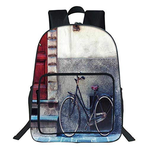 - Bicycle School Bookbag,Vintage Bicycle Leans on City Walls Modern Urban Regular Transportation Vehicle Image For Teens Girls Boys ,11.8