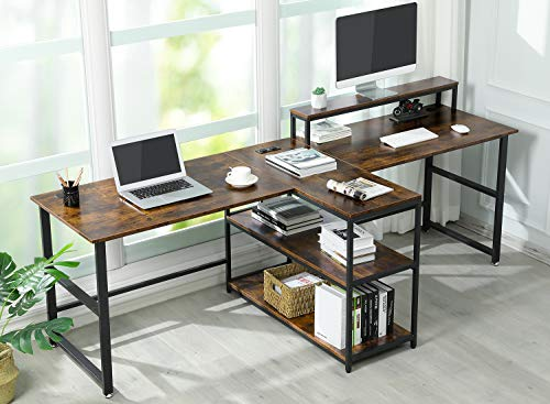 Sedeta 94.5 inches Two Person Desk, Double Computer Desk with Storage Shelves, Extra Long Workstation Desk with Monitor Stand, Power Strip with USB, Study Writing Desk for Home Office, Rustic Brown