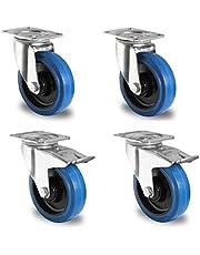 Blue Wheels, 1 set, zwenkwielen, 200 mm, 400 kg, wiel, stuur/FS