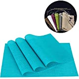 PVC Weave Placemats ,Zupro Dining Table Mat Anti-Slip,Heat Insulation PlaceMat,Set of 4, Six Color Available (Blue)