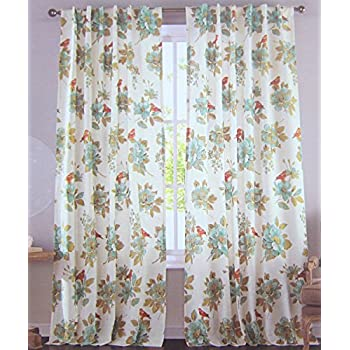 Cottage Country Floral Print Window Curtain Panels Pair 100% Cotton Drapes  Pair Of Curtains 2
