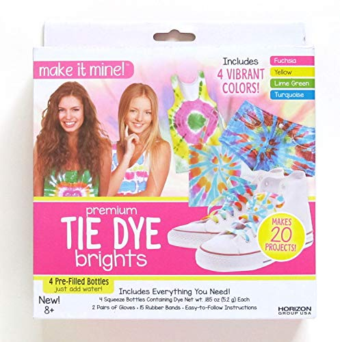 Make it Mine Premium Tie Dye Brights Kit for Fabrics Includes 4 Vibrant Colors, Gloves, Rubber Bands - Tie Dye Your Own Shirts Using This Kit
