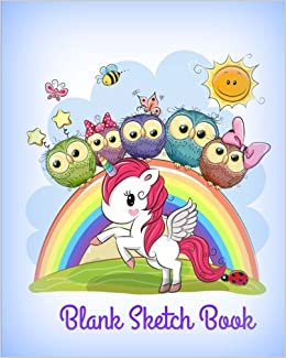 Blank Sketch Book Cute Unicorn And Owls With Rainbow Cover Design