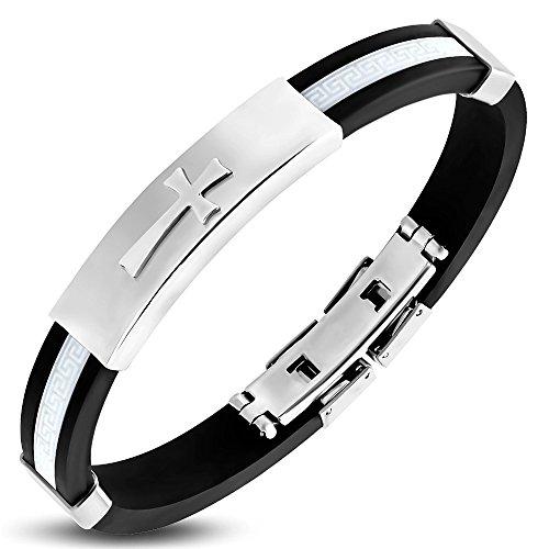 My Daily Styles Stainless Steel Black White Rubber Greek Key Cross Mens Bracelet, 8