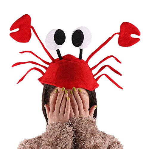 AHZZY Red Felt Crab Hat, Halloween Christmas Cute Red Lobster Crab Hat Adjustable Fits Adult Kids Fancy Party Costume Cap Children's Day Gift (2Pcs)