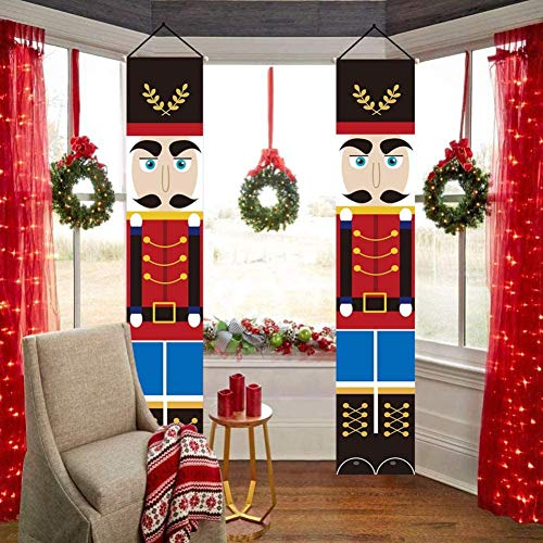 WISREMT Nutcracker Christmas Decorations - Outdoor Xmas Decor - Life Size Soldier Model Christmas Nutcracker Banners for Front Door Porch Garden Indoor Exterior Party