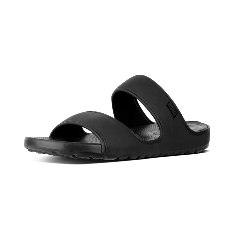 FitFlop Men's Lido Double Slide Neoprene Sandal, Black, 9 M US