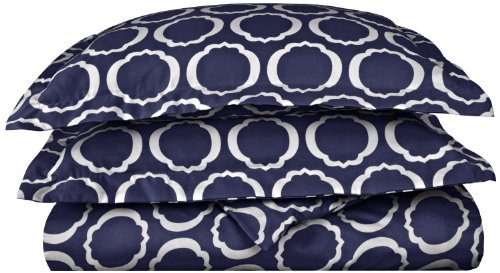 - Cotton Blend 600 Thread Count, Soft, Wrinkle Resistant 3-Piece Full/Queen Duvet Cover Set, Scroll Park Navy