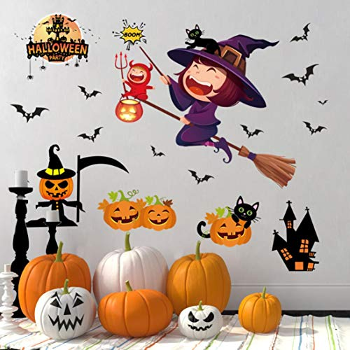 FimKaul 3D Cartoon Halloween Wall Sticker Decals Removable DIY Decoration Pet Love for Baby Kids Nursery Room Kitchen (A) ()