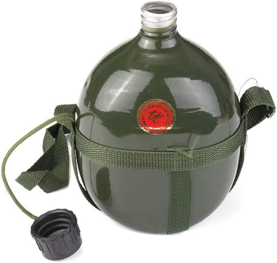 Botella de agua, 1,5 L, taza de cantimplora, militar, de aluminio, portátil, para exteriores, para ciclismo, militar, táctico