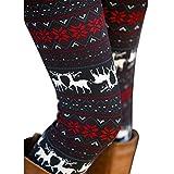 Ensasa Womens Autumn Winter Snowflake Graphic Printed Stretchy Leggings Pants, Black Red Reindeer Medium