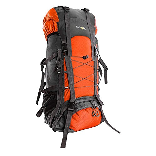 Bonnlo 60 Liters Hiking Backpack, Inner Frame Backpack, Travel Daypack with Rain Cover, Upgraded, High-Performance Packs, Large Capacity Waterproof, for Outdoor Sports Climbing(Orange)