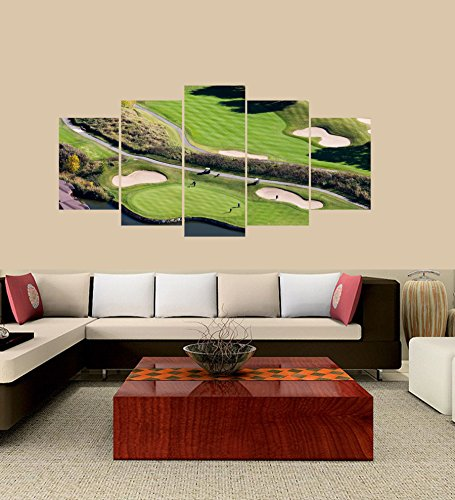 Premium Quality Canvas Printed Wall Art Poster 5 Pieces/5 Pannel Wall Decor Montreal South-Shore Golf Course Painting, Home Decor Pictures - With Wooden Frame (Course Shores Golf)