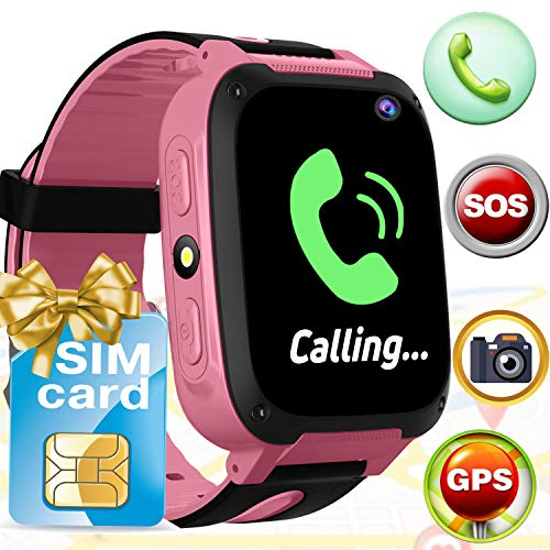 Kids Smart Watch Phone[Free SIM Card],GPS Tracker Smartwatch with Calling Camera SOS Alarm, Touch Screen Smart watch Outdoor Electronic Learning Toys Summer School Year Gift For Girl Age 3-12