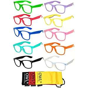 10 Pairs Retro 80's Vintage Clear Lens Sunglasses Colored Frame OWL