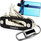 Compact Key Holder Keychain Organizer - Smart Key Organizer Keychain Holder - Smart Key Holder Organizer up to 16 Keys - Carbon Fiber with Multitool, Key Carabiner by Zikwell