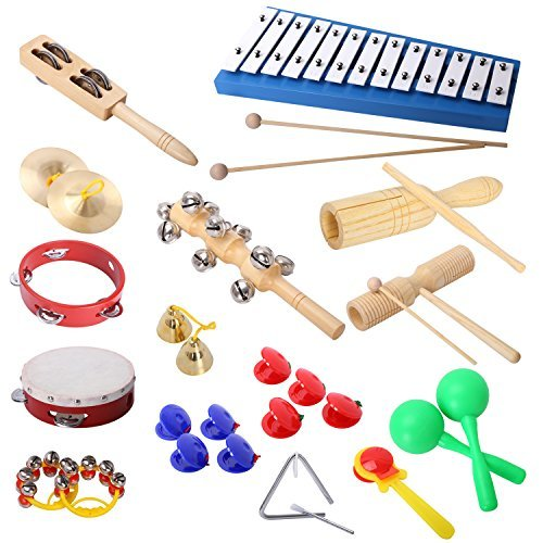 Bell Percussion Kit Carry Case (CAHAYA Percussion Set 17PCS Musical Instruments and Enlighten Toys Kit Tambourine Bells Maracas Glockenspiel Castanets with Small Bag for Kids)