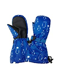 Waterproof Stay-on Snow Mittens for Baby Toddler Kids (S: 2-4Y, Penguin)