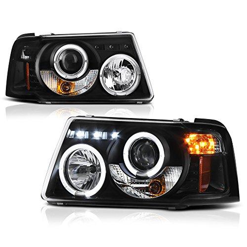 - [For 2001-2011 Ford Ranger] LED Halo Ring Black Housing Projector Headlight Headlamp Assembly, Driver & Passenger Side
