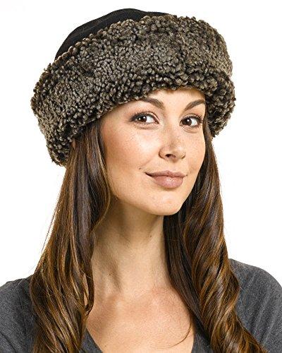 frr The Kelowna Shearling Sheepskin Hat in Black Frost - M