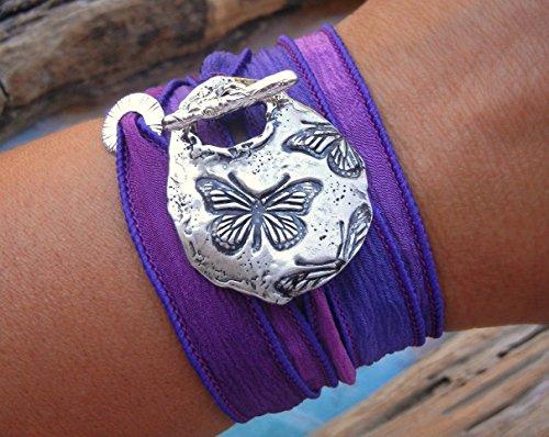 Bohemian Jewelry, Bohemian Bracelet, Bohemian Silk Wrap Bracelet, Boho Jewelry Bracelet with Butterflies