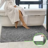 Secura Housewares Bathroom Rugs, Oversize 47' x 28'   Non Slip, Water Absorbent, Machine Washable Bath Mat Carpets   Ultra Soft, Fluffy, Thick Chenille Bath Mats for Doors, Bathroom, Kitchen   Gray