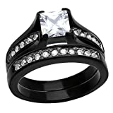 Black Stainless Steel Wedding Ring Sets Princess Cut Cubic Zirconia Women Size 5-11 SPJ